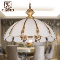 lamp shade - European dining room copper pendant lamp glass shade hanging lighting
