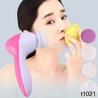 Wholesale 5in1 Multifunction Electric Face Facial Cleansing Brush Spa Skin Care Massage T1083 W0