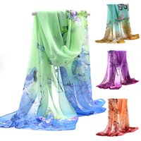 Wholesale Fashion women colored chiffon printed designer scarf autumn plaid flower gradient loose fitting long silk scarves pashmina wrap