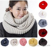 knit circle scarf - New arrivals Winter Warm Infinity Circle Cable Knit Cowl Neck Long Scarf Shawl