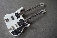 Cheap Custom guitar shop top quality right price double neck bass guitar .white double neck 4003 bass guitar .