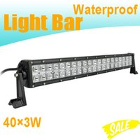 Wholesale Led Dual Flood Lights - Super Brightness Dual Row LED Light Bar 40pcs*3W 22Inch LED Work Lamp Waterproof 8800LM 12V 6000K Combo Beam For SUV Jeep Truck