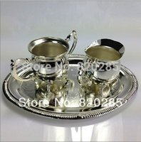 Wholesale Fashion design silver plated metal coffee set tea set for weddings or party or KTV