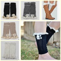 Wholesale new color autumn women girl lady winter Crochet Button Bud silk cotton hollow leg warmers short boots set ladies socks topB1309 pairs
