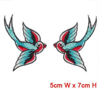 Wholesale lovely swallow animal patch iron on hot cut border use in cloth hat bag can be custom embroidery factory
