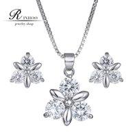 Wholesale 2015 New Fashion Jewelry Sets Austrian Zircon Crystal Necklaces Drop Earrings Silver Gold Women Jewelry Chrismas