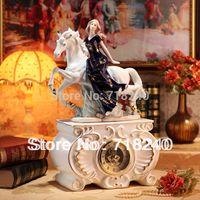 antique hall desk - European Style Ceramic Porcelain Clock White Horse Girl Figurine Dark Blue Home Wedding Decor Bedroom Hall Desk Ornaments Gift