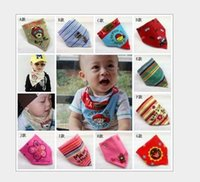 Wholesale best selling Cartoon Baby Bandages Triangle Bibs Children Snap Bibs Mom s Care Bibs cotton bibs