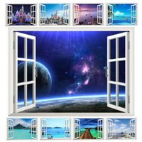 Wholesale fantastic window space landscape castle sea wall stickers home decoration living room bedroom festival gifts decals mural arts