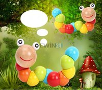 Wholesale Hot Selling Baby Toys infant Twist Insects Wooden Toys kid Educational Toy New and