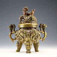 Wholesale Rare Chinese tibet silver Carved FOO DOG dragons Censer Incense Burner