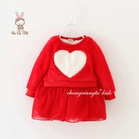 baby ruffle dress pattern - Korean Style Girls Long Sleeve Dress For Winter Arrival Children Thicked Heart Pattern Tulle Dress Baby Kids Dress Fit Age SS953