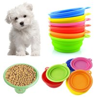 Bowls, Cups & Pails plastic dog bowl - 2015 Colorful Dog Pet Portable Silicone Collapsible Travel Feeding Bowl Water Dish Non toxic silicone Feeder Bowl Colors