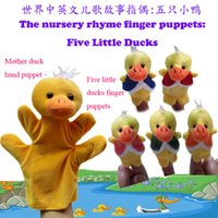 Wholesale 2015 World Nursery Rhyme Puppets Five Little Ducks Plush Finger Puppets Hand Puppets For Kids Students Talking Props B001
