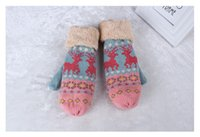 Wholesale 2014 Women s winter Mittens warm Knitted gloves coldproof deer gloves good quality colors F