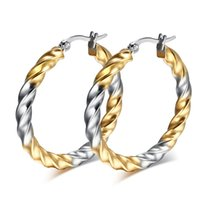 big hoop earrings - ORSA New Arrival Fashion Titanium Steel Hoop Earrings for Women Popular Big Round Twisted Earrings DTE22