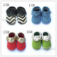 Wholesale Frist Class Cow Leather baby moccasins kids Leopard moccs baby sofe sole walking shoes sandals fringe shoes new designed chevron moccs