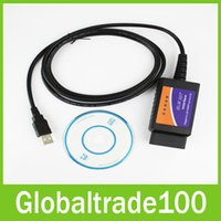 Wholesale Cable Usb Elm327 - OBD OBDII ELM327 USB Cable Auto Car Diagnostic Scanner Tool ELM 327 Support All OBD2 Protocals