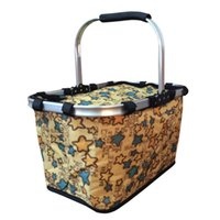 Wholesale Foldable Insulated Cooler Picnic Basket with Single Handle Large Size Beige Background