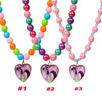 Wholesale 2014 My Little Pony Necklace Baby Girl Glass Heart Pendant Necklace Kids Color Jewelry Necklace Children Christmas Party Gifts YW GD20