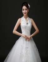 Wholesale Silk Organza Sweetheart Neck Wedding - Hot Sale 2016 Romantic Wedding Dresses Ball Gown Halter Lace-up Court Train Organza Bows Applique Rhinestone Sequins Bridal Gowns h901