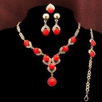 La mode la plus nouvelle 18k plaqué or bleu / rouge / orange / vert perles Aquamarine Collier Bracelet Boucle d'oreille Bague de mariage Bijoux Set dame
