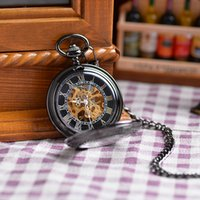 antique clock hands - Wholesales New Arrival Roman Skeleton Relogio De Bolso Men Hand Wind Mechanical Watch Atique Clock Male Fob Pocket Watch