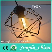 Wholesale American Country iron hanging pendant light Dining Room Wrought Iron Chandelier Retro Pendant Lamp For for hotel living room decoration