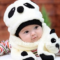 Wholesale Top Sale Toddler Infant Unisex Girl Boy Baby Hat Cap Beanie Scarf Panda Cartoon Christmas Gift