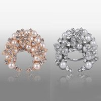 Wholesale Gold Sliver Graceful Flower Rhinestone Crystal Breast Pin Brooch Bouquet