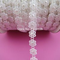 Wholesale mm yds roll New Bridal Dress Beaded Lace Trim Pearl Flower Rhinestone Applique Color Flatback Sew On Bead For Clothing