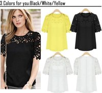 white blouses - New Spring Summer Women Chiffon Hollow Out Lace Patchwork Blouses Short Sleeve Shirts Plus Size Tops For Women Clothing G0546