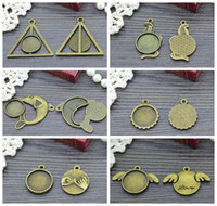 14k findings - Inner Size mm Round Cameo Settings Tray Pendant Antique Bronze Snake Wing Harry Potter Charms Finding