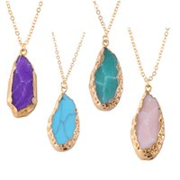 american triangle - Drusy pendant necklaces turquoise natural stone triangle pendant gemstone blue pink green purpple drusy jewelry for valentine s gift bulk