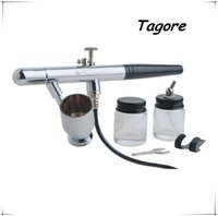 airbrush spray tanning - Tagore TG128 Dual Action MM Nozzle Airbrush Spray Gun for Body Painting Tattoo Tanning with Glass Jars and Metal Cup