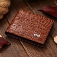 alligator for sale - HOT SALE Fashion men wallets designer leather brand quality black brown and crocodile pattern purse wallet for men