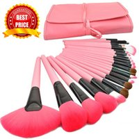 Wholesale Hot Goat Hair Professional Makeup Brush Set Set Including a Deluxe Leather Bag Pink Makeup Brushes