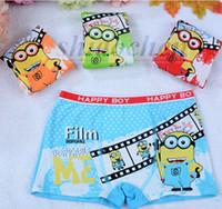 Wholesale Kids Minions boxers cartoon Cotton underwear Boy despicable me Boxer Baby briefs Cute Panties Clothing Underpants Boys Pants shorts A46