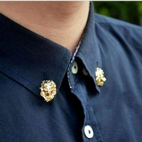 mens jewelry cheap - Newest K plated Gold brooch pins for men fashion hot European style animal lion Head Men s Shirt Brooch Pins mens jewelry Cheap