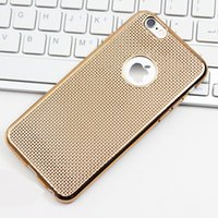 apple hats - Luxury Hollow Hole Dots Back Easy Hat Dissipation Colorful Electroplating TPU Case Skin Cover For iphone s Plus s