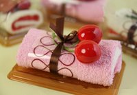 cake towel - 5sets cm cm Swiss Cake Towel Mix color Cute Design Small Kerchief Towel Wedding gift Baby shower gift souvenirs