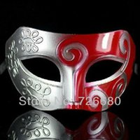 Wholesale Cool Halloween Party Venetian half mask Black Masquerade Masks Silver Red