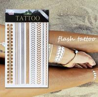 flashing christmas jewelry - 500 Style Body art chain Gold Tattoo Temporary Tattoos tatoo flash tattoo metallic tattoo jewelry temporary tattoost stickers X21cm