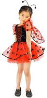 american ladybug - Fashion girl ladybug costumes insects party cosplay kids Halloween dress T cosplay kids performance clothes carnival animal dress party