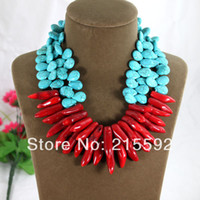 red coral beads necklace - New Top Design Rows Turquoise Beads Water Drop Red Coral Necklace Wedding Bridesmaid Jewelry AJS109
