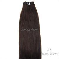 Precio de Marrón recta armadura brasileña del pelo-Extensión brasileña brasileña del pelo humano de Remy de las extensiones del pelo recto brasileño 7A 100g 1pcs 16