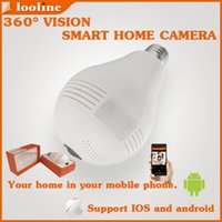 Wholesale Looline degree fisheye Lens panoramic P wifi wireless hidden light Camera support sd card two way audio for ios android