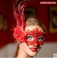 Wholesale 1pcs Hot similar leather feather mask masquerade mask on a stick of red and black wedding party more color choices