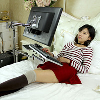 adjustable laptop table - Bedside Portable Laptop Stand Adjustable Foldable Sofa Laptop Stand Desktop Computer Mount Holder Rotating Laptop Table Lapdesks