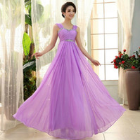Wholesale 2015 women new formal prom maix gown evening party bridesmaid wedding long light purple red fuchsia dress
